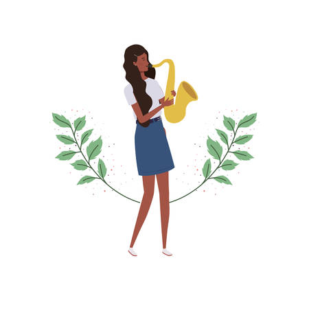 woman with saxophone and branches and leaves in the background vector illustration design Çizim