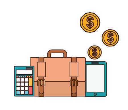 set of icons with suitcase of businessman in white background vector illustration design Иллюстрация