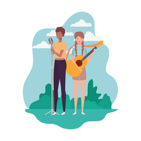 women with musical instruments and background landscape vector illustration design Çizim
