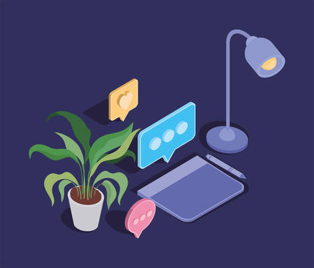 designer tablet electronic and office icons vector illustration design