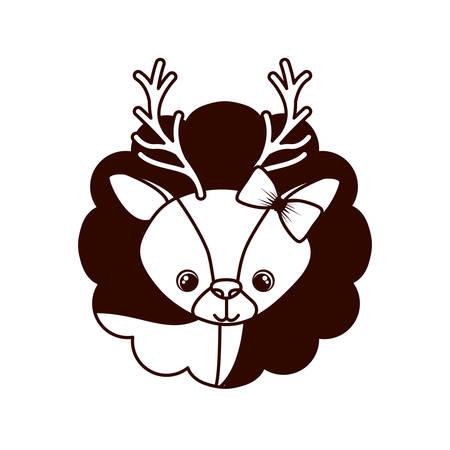 cute and adorable deer with frame vector illustration design Ilustração