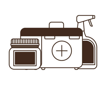 silhouette of first aid kit on white background vector illustration design Ilustrace