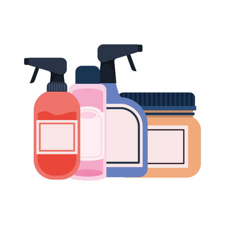 pet grooming containers on white background vector illustration design