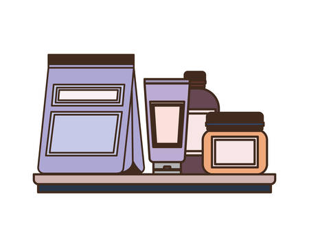 food bag and containers for pet grooming vector illustration design