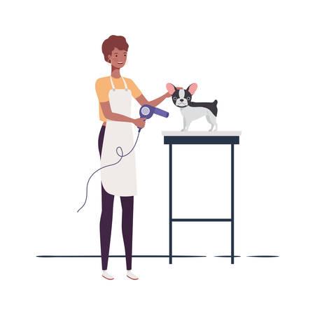 jeune femme, à, chien, dans, toiletteur animal, vecteur, illustration, conception Vecteurs