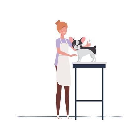 young woman with dog in pet groomer vector illustration design Illusztráció