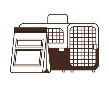 silhouette of pet transport box and pet food bag vector illustration design