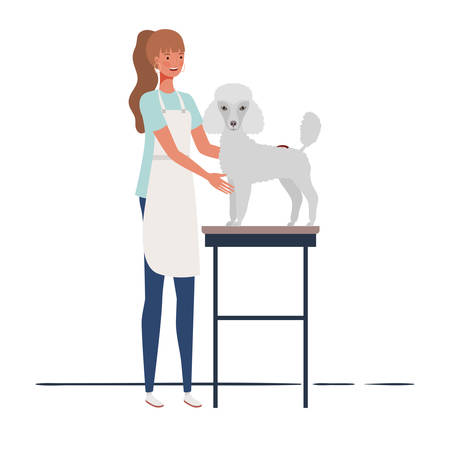young woman combing a dog in pet groomer vector illustration design