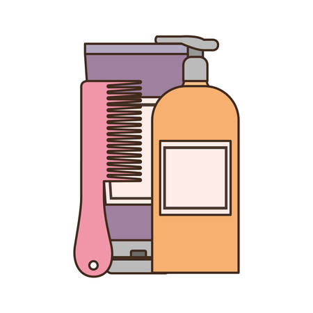 professional hairdressing tools on white background vector illustration design