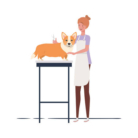 young woman with dog in pet groomer vector illustration design 矢量图像