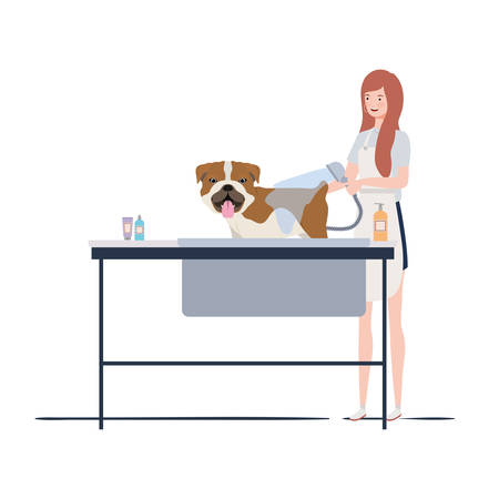 young woman with dog in pet groomer vector illustration design Illustration
