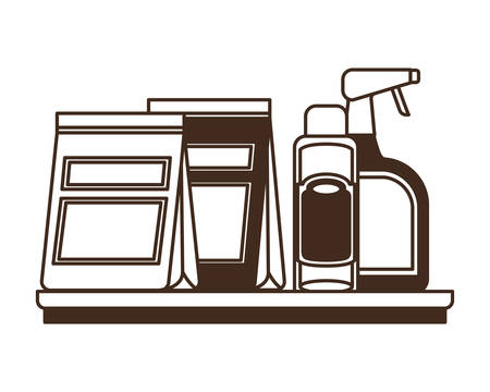 silhouette of food bag and containers for pet grooming vector illustration design 일러스트