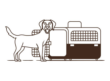 silhouette of dog and pet transport box on white background vector illustration design