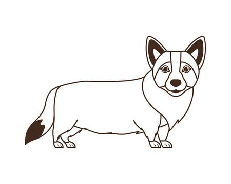 silhouette of cute welsh corgi dog on white background vector illustration design vector illustration design Archivio Fotografico - 129831019