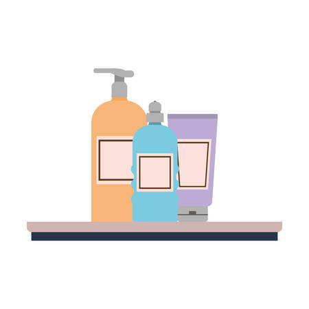dispensing bottle on shelf with white background vector illustration design Çizim