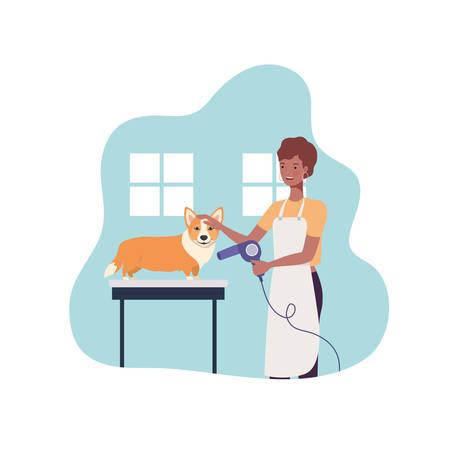 jeune femme, à, chien, dans, toiletteur animal, vecteur, illustration, conception