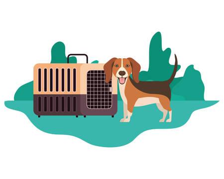 dog and pet transport box with background landscape vector illustration design Иллюстрация