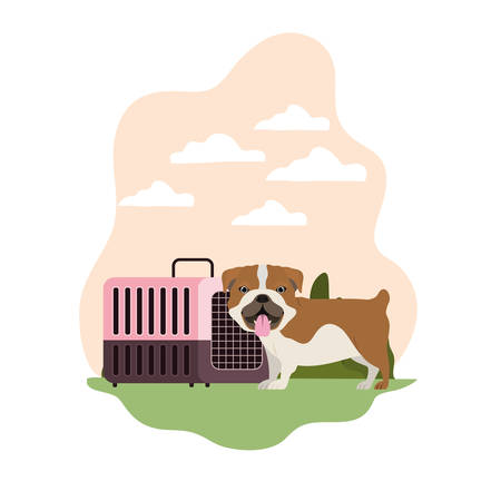 dog and pet transport box with background landscape vector illustration design 스톡 콘텐츠 - 129831055