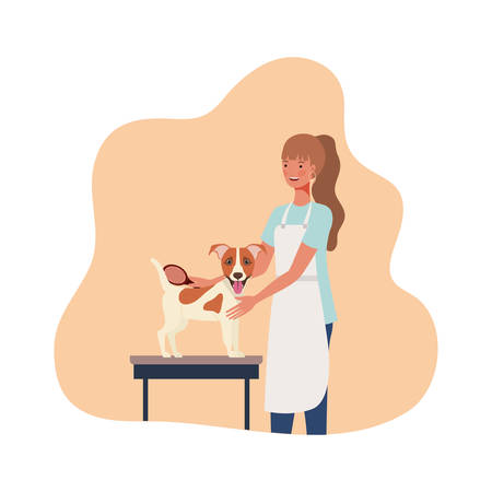 young woman with dog in pet groomer vector illustration design 向量圖像