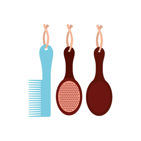 set of hairbrush combs and hairbrushes on white background vector illustration design