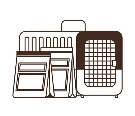 silhouette of pet transport box and pet food bag vector illustration design
