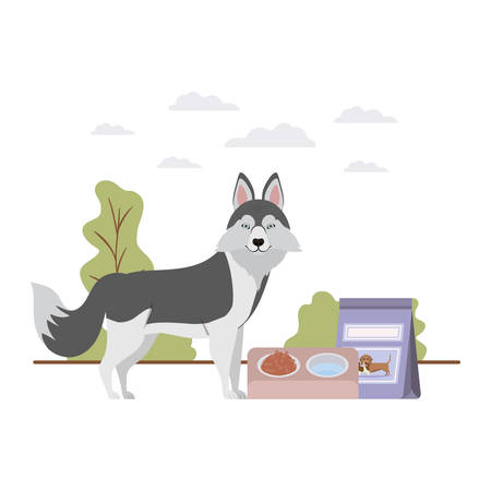 dog with bowl and pet food on landscape vector illustration design Ilustrace