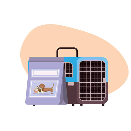 pet transport box and pet food bag vector illustration design 写真素材 - 129831291
