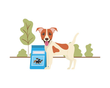 dog with dog food bag on landscape vector illustration design