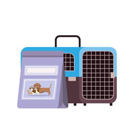 pet transport box and pet food bag vector illustration design Stock fotó - 129831293
