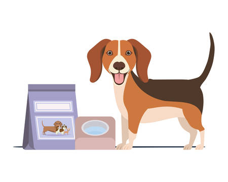 dog with bowl and pet food on white background vector illustration design Фото со стока - 129831301