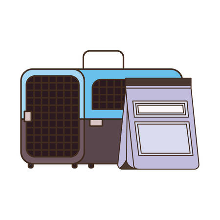 pet transport box and pet food bag vector illustration design Stock fotó - 129831378