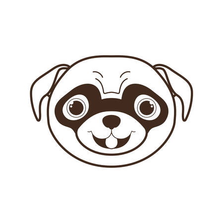 head of cute pug dog on white background vector illustration design Archivio Fotografico - 129831385