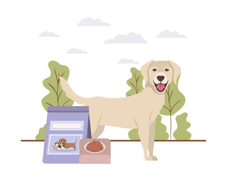 dog with bowl and pet food on landscape vector illustration design  イラスト・ベクター素材