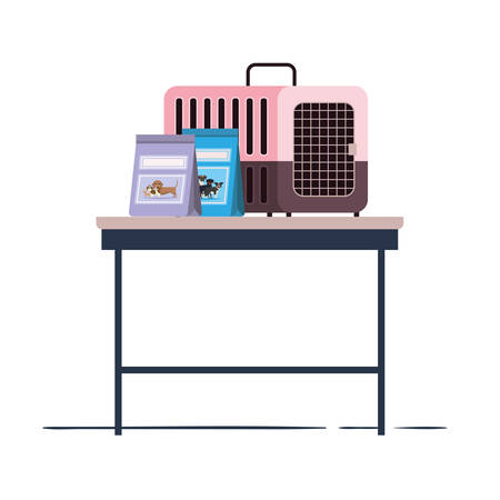 pet transport box and pet food bag on table vector illustration design Ilustracja