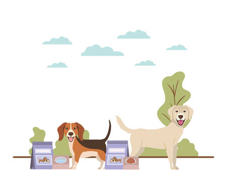 dogs with bowl and pet food on landscape vector illustration design