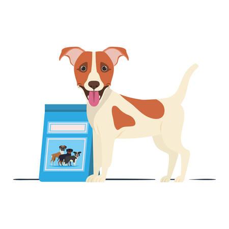 dog with dog food bag on white background vector illustration design