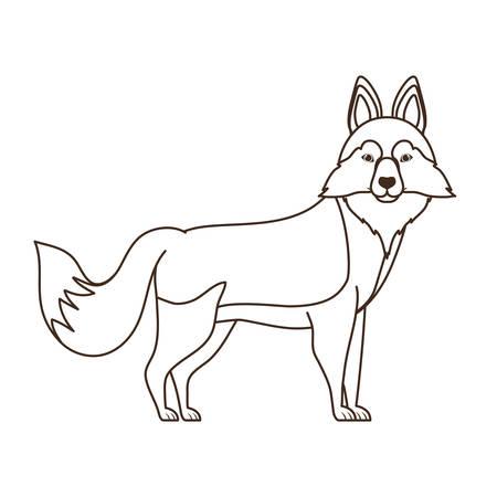 silhouette of cute siberian husky dog on white background vector illustration design