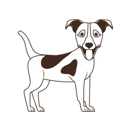silhouette of cute jack russell terrier dog on white background vector illustration design