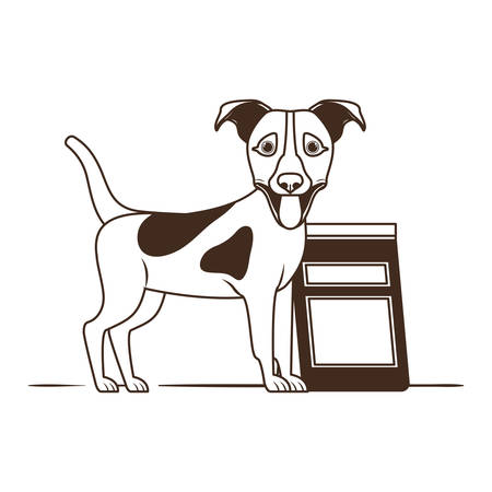 silhouette of dog with dog food bag on white background vector illustration design