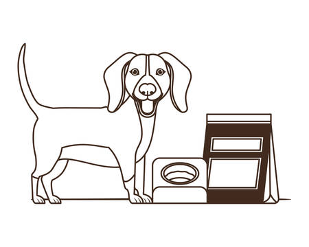 silhouette of dog with bowl and pet food on white background vector illustration design