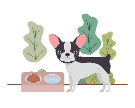 dog with bowl and pet food on landscape vector illustration design Ilustração