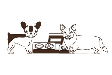 silhouette of dogs with bowl and pet food on white background vector illustration design Ilustração