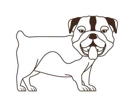 silhouette of cute bulldog dog on white background vector illustration design