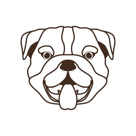 head of cute bulldog dog on white background vector illustration design
