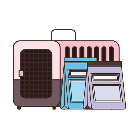 pet transport box and pet food bag vector illustration design