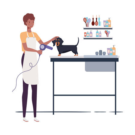young woman with dog in pet groomer vector illustration design Stock Illustratie