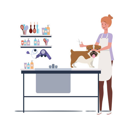 young woman with dog in pet groomer vector illustration design  イラスト・ベクター素材