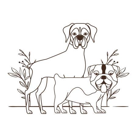 Silueta de perros lindos y adorables con diseño de ilustración de vector de fondo de hojas