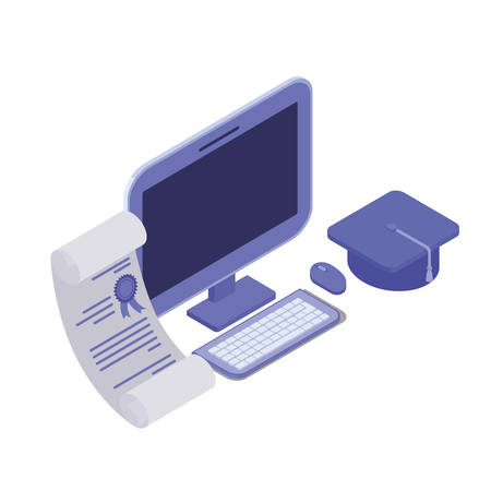 desktop computer screen with graduation certificate vector illustration design
