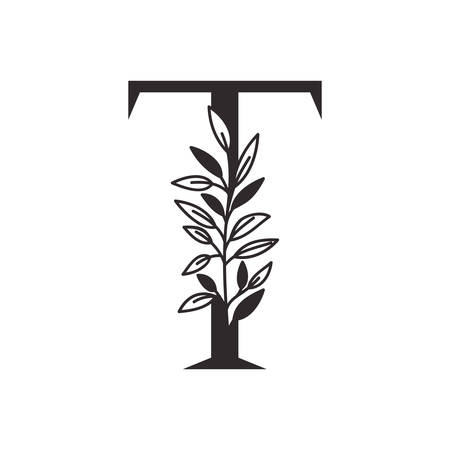 letter T of the alphabet with leaves vector illustration design